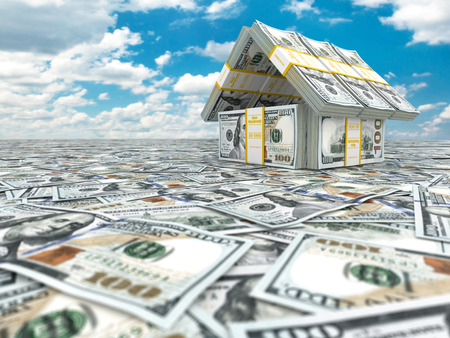 winning stock: Bank. House from pack of dollar on cloudscape. 3d