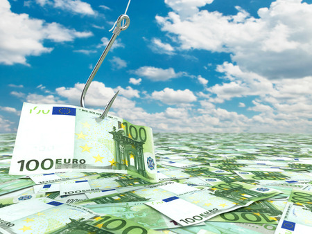 fishhook: Euro and fish-hook on cloudscape. Financial concept.. 3d