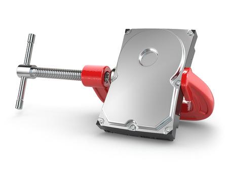 disco duro: Concepto de compresión de datos. Unidad de disco duro en el tornillo de banco. 3d
