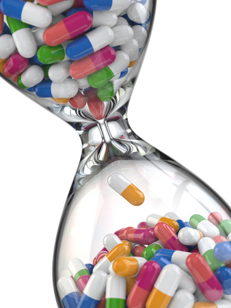 abstract time: Time of medicine. Pills in hourglass. 3d Stock Photo