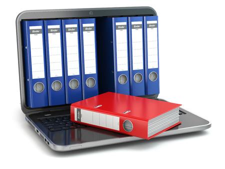 Opslag van gegevens. Laptop met dossier ringbanden. 3d
