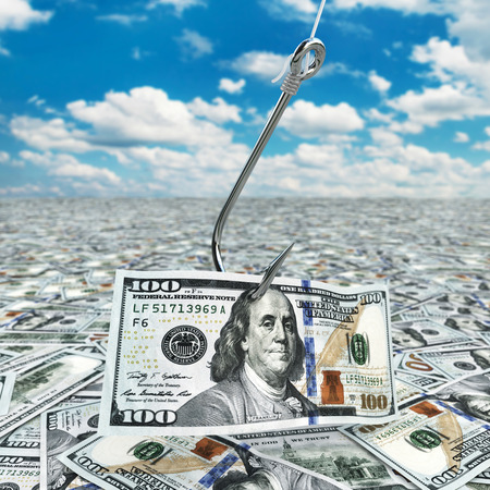 Dollar and fish-hook on cloudscape. Financial concept.. 3d photo
