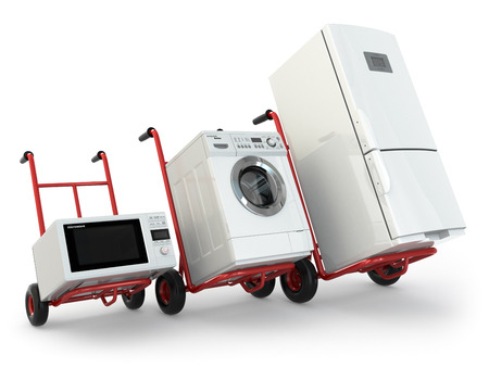 moving activity: Appliance delivery. Hand truck, fridge, washing machine and microwave oven. 3d