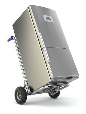 moving activity: Appliance delivery. Hand truck and fridge. 3d