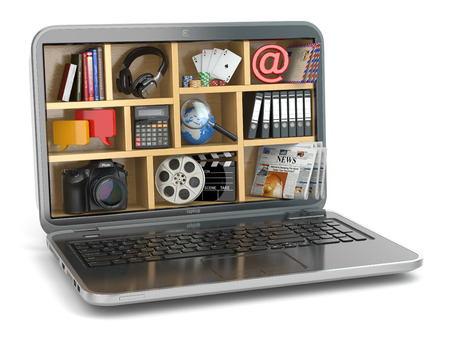 capabilities: Cloud computing concept. Laptops software and capabilities. 3d