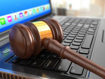 auction gavel: Online internet auction. Gavel on laptop.  3d