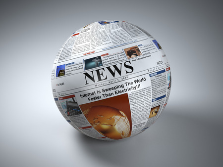 online trading: News concept. Newspaper sphere. Three-dimaensional image. 3d