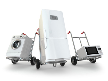 washer machine: Appliance delivery. Hand truck, fridge, washing machine and microwave oven. 3d