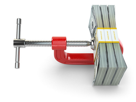 reducing: Crisis. concept of reducing costs. Vise and dollars. 3d