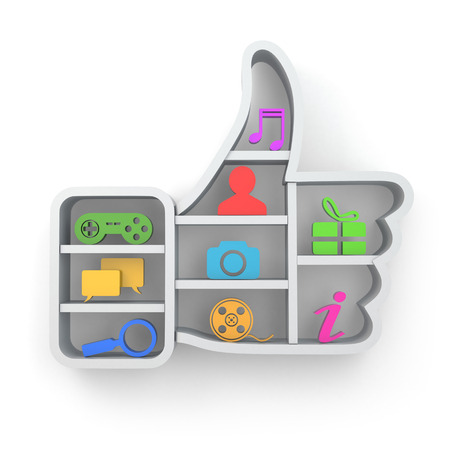 following: Like. Social media concept. Thumb up and apps icons .3d