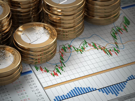 Financiële concept. Euromunten op de grafiek. 3d