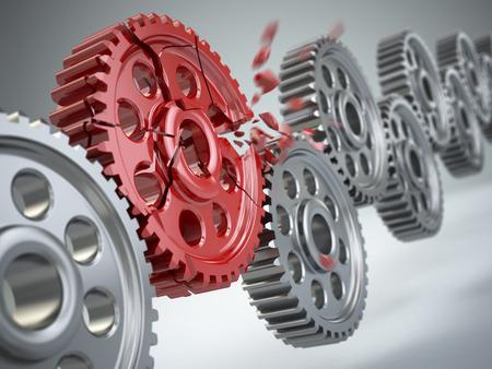 mettalic: Explosion gear in perpetuum mobile. Weakest link concept.  3d