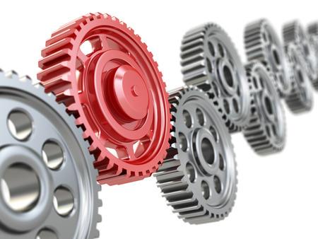 mettalic: Machine gears on white background. Teamwork concept.. 3d Stock Photo
