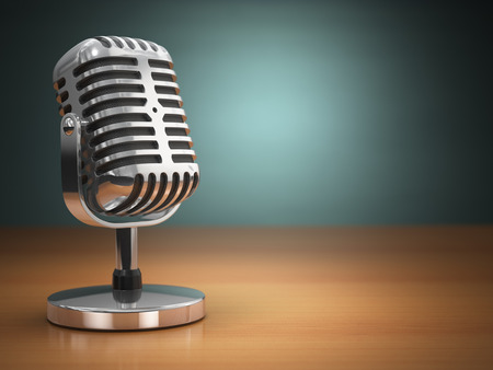 Vintage microphone on green background. Retro style. 3d