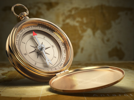 Compass on world map background. Navigation. 3d Stock Photo