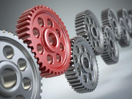 mettalic: Machine gears. Teamwork concept. Three-dimensional image. 3d