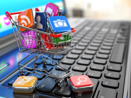 global market: Store of laptop software. Apps icons in shopping cart. 3d