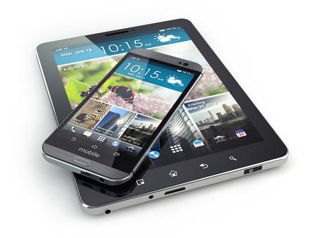 モバイル デバイス。孤立した白地のスマート フォンやタブレット pc。3 d