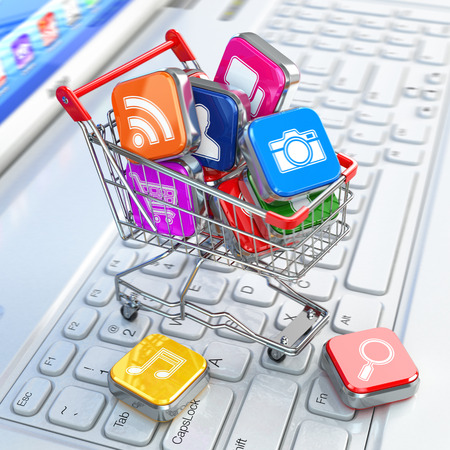 Store of laptop software. Apps icons in shopping cart. 3d photo
