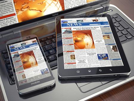 뉴스. 미디어 개념입니다. 노트북, 태블릿 PC와 스마트 폰입니다. 3D 스톡 콘텐츠