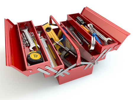 Toolbox met hulpmiddelen op een witte achtergrond geïsoleerd. 3d Stockfoto