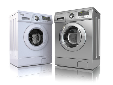 front view: Washing machine on white isolated background. 3d