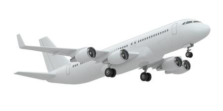Vliegtuig op witte achtergrond geïsoleerd Stockfoto
