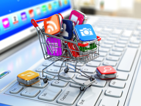 Apps icons in shopping cart. 3d Stock Photo