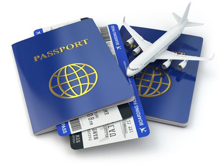 passport stamp: Passports, airline tickets and airplane. 3d