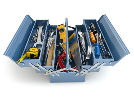 Toolbox with tools on white isolated background. 3d