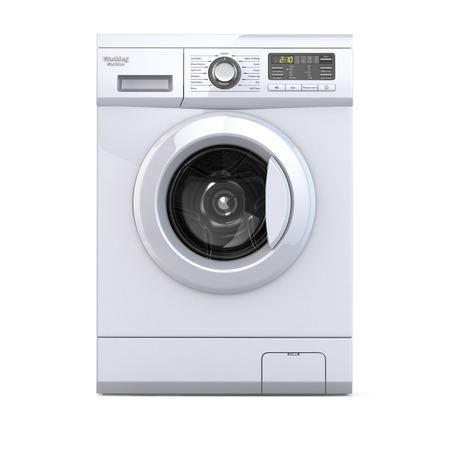 Máquina de lavar roupa no fundo branco isolado. 3d Imagens