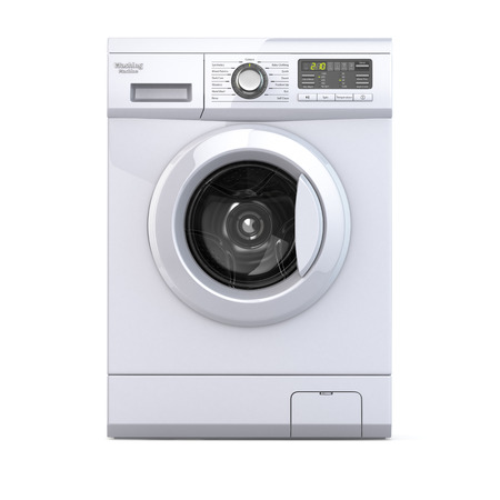 Wasmachine op een witte achtergrond geïsoleerd. 3d Stockfoto