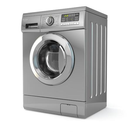 lavadora con ropa: Lavadora en el fondo blanco aislado. 3d