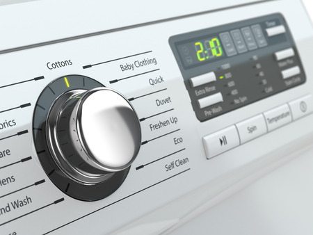 from the front: Control panel of washing machine. Three-dimensional image.