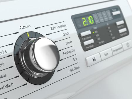 machine à laver: Panneau de commande de machine à laver. Image en trois dimensions.