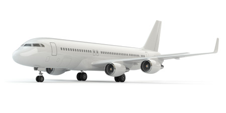 Airplane on white isolated background. Three-dimensional image.