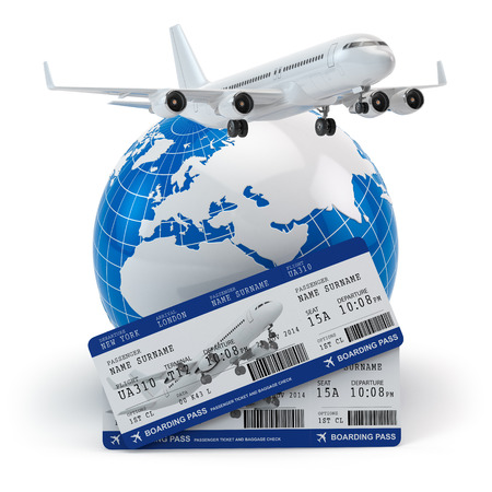 commercial airplane: Travel concept. Airplane, earth and tickets. 3d