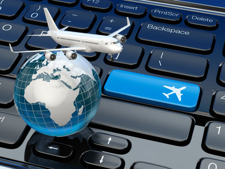 air cargo: Online ticket booking. Airplane and earth on laptop keyboard. 3d