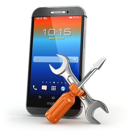 smarthone: Mobile service concept. Smarthone with tools. 3d Stock Photo