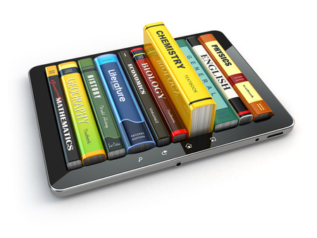 digital library: E-learning.  Tablet pc and textbooks. Education online. 3d
