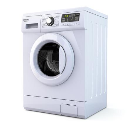 clothes washing: Lavadora en el fondo blanco aislado. 3d