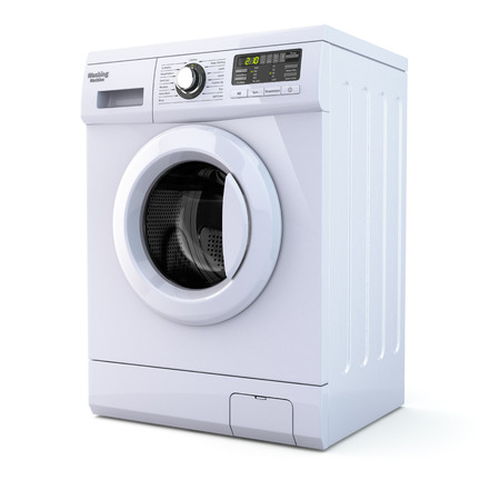Washing machine on white isolated background. 3d photo