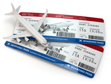 plane ticket: Boarding pass. Tickets and airplane on white isolated background. 3d Stock Photo