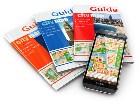 travel guide: GPS mobile phone navigation  and travel guide books. 3d Stock Photo