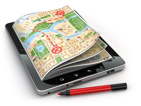 GPS navigation concept. Guide map on the tablet pc screen. 3d