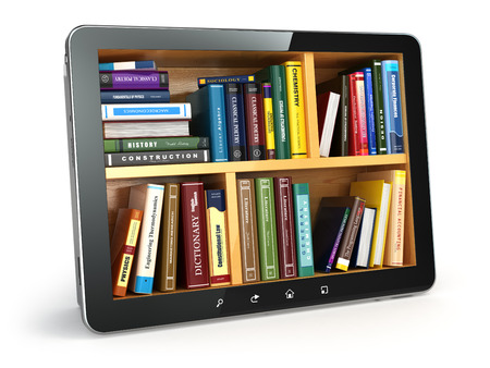 E-learning.  Tablet pc and textbooks. Education online. 3d photo
