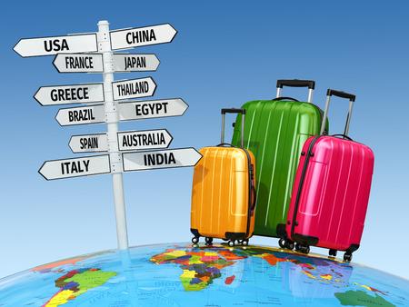 여행 개념. 가방 및 국가 표지판입니다. 3D