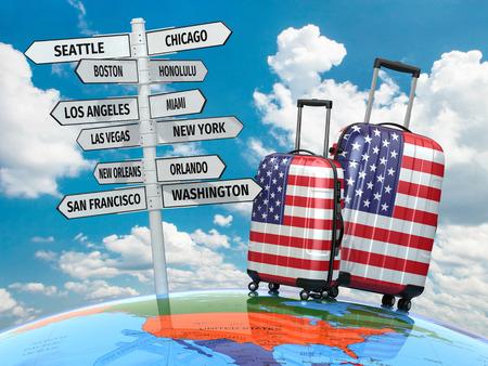 Reizen concept. Koffers en wegwijzer wat te bezoeken in de Verenigde Staten. 3d Stockfoto