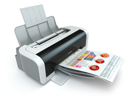 Printer prints business report on white isolated background. 3d