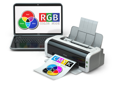 printer drawing: CMYK and RGB color models. Laptop and printer. 3d Stock Photo